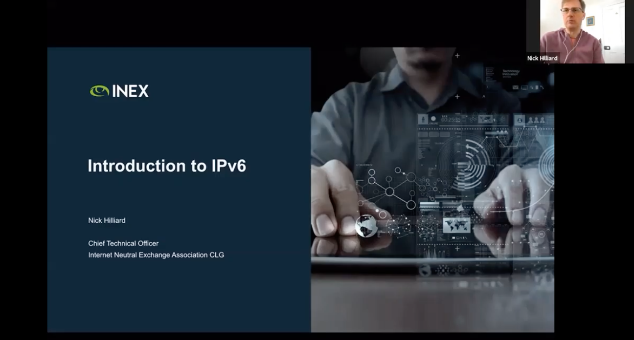 Image shows Nick Hilliard and the front page of his talk on an Introduction to IPv6